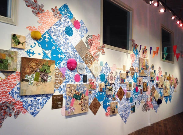 Wild & Domesticated, 2016 :: site-specific installation with collage on panels, acrylic, block printing, screen printing, corrugated cardboard gouache, embroidery, found objects